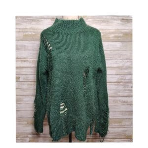 Lush Distressed Sweater Forest Green
